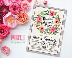 Tea Stained Floral Bridal Shower Invitation por shopPIXELSTIX