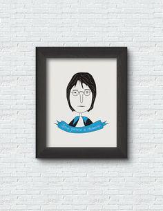 John Lennon Poster Print Art Illustration Design by RooftopCo John Lennon, Poster Prints, Art Prints, Quote Posters, Illustration Art, Objects, Wall Decor, House Design, Decoration