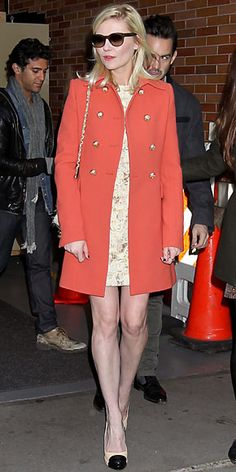 coral military jacket, gradiated sunnies and  two-tone heels