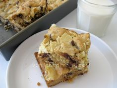 chewy chocolate chip cookie bars with pretzels and chips - sweet & salty - yum!