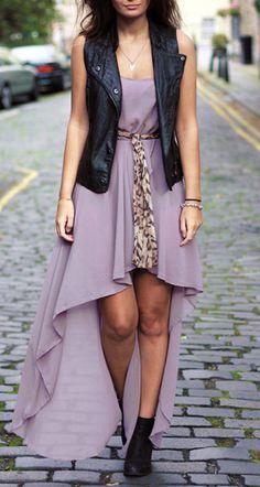 Like the idea of leather jacket/vest + feminine dress