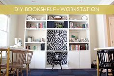 A custom #DIY bookshelf with a built-in desk -- serious functionality, folks!