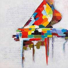 Painted Canvas Wall ART OIL Painting Modern Abstract Music Grand Piano RED Blue | eBay