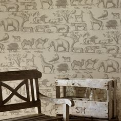 Buy Andrew Martin Ark Wallpaper online with Houseology Price Promise. Full Andrew Martin collection with UK & International shipping. Tier Wallpaper, Look Wallpaper, Scenic Wallpaper, Animal Wallpaper, Wallpaper Ideas, Wallpaper Lounge, Feature Wallpaper, Wall Wallpaper, Teenage Girl Bedrooms
