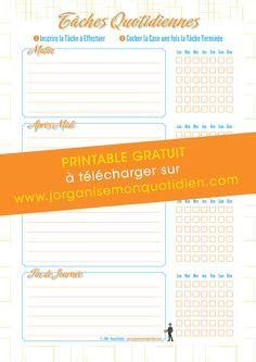 Checklist Tâches Ménagères - Organisation Maison - #printable #gratuit…