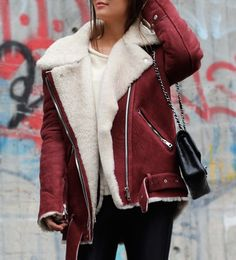 red leather sherling jacket #leather #streetstyle