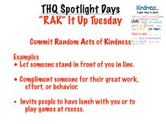 """This visual introduces students to """"'RAK' It Up Tuesday,"""" the second of five """"Spotlight"""" days that I incorporated into our weekly schedule to give special attention to important ideas and priorities. Teaching Career, Weekly Schedule, Social Skills, Priorities, Spotlight, Classroom Ideas, Tuesday, Students, Child"""