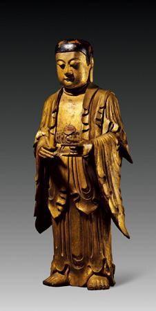如来佛 创作年代 清 尺寸 高59cm 估价 50,000 - 80,000 RMB 作品分类 佛教文物其它 作品描述 这尊释迦牟尼佛立像容貌刻画细腻非凡,法相慈祥和蔼又不失庄严,双手呈接引法印。天衣造型自然,衣皱线条流畅细腻。整体品相极为完好,将清代浙江的雕刻工艺完美的呈现出来,实为不可多得的精品。 拍卖公司 安徽正德拍卖有限公司 拍卖会 2016年艺术品拍卖会 专场名称 古玩专场 拍卖日期 2016-08-21