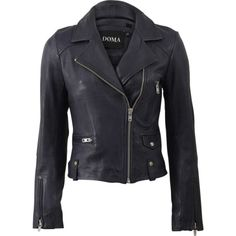 Doma Textured Back Leather Jacket (2,595 PEN) ❤ liked on Polyvore featuring outerwear, jackets, asymmetrical zipper jacket, lined jacket, lined leather jacket, leather jacket and collar jacket