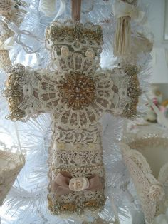 ANTIQUE LACE CROSS Christmas Tree Decoration by fragilegarden