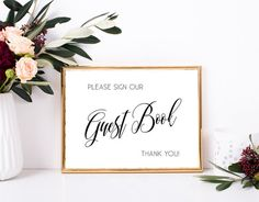 Please sign our guest book - Printable wedding sign (Rustic chic wedding theme) by MyColorMoodWedding
