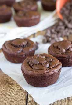 These double chocolate muffins have no butter, no oil, and no flour. They are made with very little sugar and taste fantastic - sure to be a hit!
