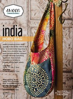 Swoon Patterns: India Hobo Bag - PDF Hobo Bag Purse Sewing Pattern