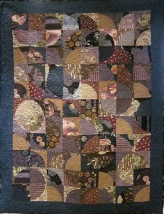 Patchwork Quilt  blue purple and brown Japanese by kallistiquilts, $460.00