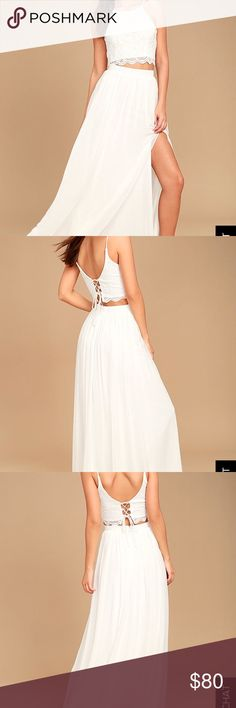 Beautiful white lace dress from Lulus Beautiful, romantic, fully lined so you won't see through it! Lulu's Dresses Maxi