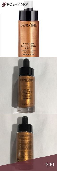 Lancôme Custom Sculpting Drop Bronze Glow NEW A lightweight, highly pigmented formula that easily blends with your foundation. The buildable droplets are enhanced with light-reflecting pearls to leave an intense shimmer on the skin. Its innovative water-in-oil emulsion is highly blendable and works seamlessly with your foundation without creasing or settling into fine lines.  Pro tips: You can also use the fluid drop as a shimmery eyeshadow, an illumination blush or a bronzer. NWOB Lancome…