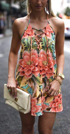 Flower Print Dress & Cream Leather Clutch