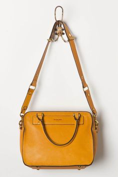 yellow leather handbag from Anthropologie