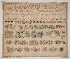A 19th Century EUROPEAN Sampler Dated 1835 ~ Museums On Line Embroidery Sampler, Embroidery Stitches, Yesterday And Today, Museums, 19th Century, Needlework, Quilting, Textiles, Antique