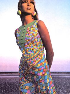 pattie boyd modeling typical 1960s fashion...bold patterned fabrics and ball earrings