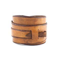 Army Brown Leather Wrap Cuff // 5.5 - 7.75 inch wrist // fwc000069