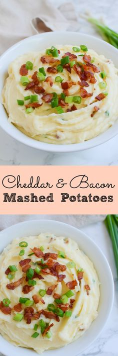 Cheddar and Bacon Mashed Potatoes - the perfect side dish for every meal! Cheddar and Bacon Mashed Potatoes - the perfect side dish for every meal! These potatoes are loaded with sour cream, cheddar cheese, bacon, and green onions! Side Dish Recipes, Lunch Recipes, Cooking Recipes, Dishes Recipes, Bacon Recipes, Potato Recipes, Best Side Dishes, Healthy Side Dishes, Potato Dishes