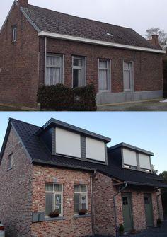 """Een mooi voorbeeld van een woning """"voor en na"""" de plaatsing van een dakkapel. In dit geval zijn het zelfs twee kapellen die we naast elkaar geplaatst hebben.  Ons kantoor vind je trouwens terug in de Veldstraat 18 te Keerbergen. En je kan ons bereiken op 015/54 00 10 of via info@comforthouse.be"""
