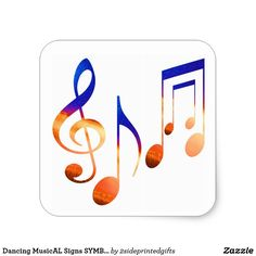 Dancing MusicAL Signs SYMBOLS SHEET MUSIC Square Sticker