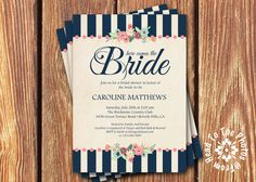 Shabby Chic Bridal Shower Invitations #gardenPartyInvitation bridal shower party invitations garden tea vintage rose flower pink wedding shabby navy 12.00 USD FromHeadtoToeDesigns
