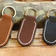 Collection of handmade leather keyrings in many colors. High quality keyring, custom dyed, which can be personalized with your initials.