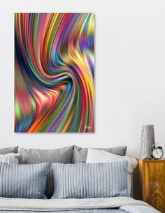 Rainbow Wallpaper, Colorful Wall Art, Cotton Canvas, Abstract Art, Canvas Prints, Tapestry, House Design, Stretcher Bars, Calming
