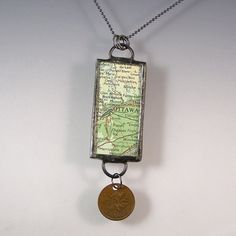 Ottawa Canada Map and Coin Pendant Necklace by XOHandworks