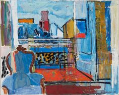 Tove Jansson (Finnish, 1914-2001), THE BLUE CHAIR, 1961. Oil on canvas 65x82 cm