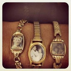 What a cool idea - take old wrist watches and turn into photo bracelet