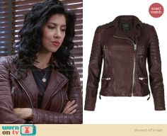 Rosa's burgundy leather jacket on Brooklyn Nine-Nine. Outfit Details: http://wornontv.net/28931 #Brooklyn99 #fashion