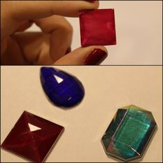 """kimeejicosplay: """"I wanted to share a neat trick I came up with to solve my gem dilemma. I know there are other ways to do this, like using clay to shape a gem and paint it, or even resin casting, but..."""