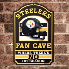 "Product # HC5721 - NFL FAN CAVE SIGN welcomes visitors to your football-viewing domain! Proclaim your loyalty and deck out your den, basement, family room or sports shrine with this colorful wall sign featuring your favorite team's helmet and logo. Has pre-drilled hole for hanging. Pressed-wood board construction. 17"" H x 11"" W. Made in USA. $29.98"