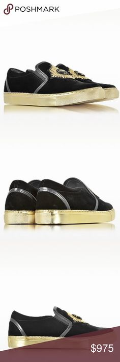 BALMAIN Queen Black Velvet Sneaker Queen Black Velvet Sneaker crafted in velvet, is a blend of classic style and urban streetwear. Featuring slip-on design, velvet upper, rounded toe, elastic inserts, leather trim, embroidered badge on vamp and gold tone rubber sole. Signature dust bag included. Balmain Shoes Sneakers