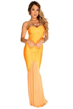 Turn heads when you hit the night in this elegant maxi dress. Featuring a sweetheart neckline, strapless, sleeveless, bandage material, sheer skirt.http://www.amiclubwear.com/shoes-booties.html