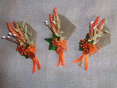 Orange rustic wedding boutonniere country wedding boutonnieres set of 6 wedding party pin grooms pin groomsmen decor