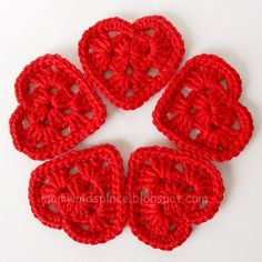 Granny square hearts for Valentines day