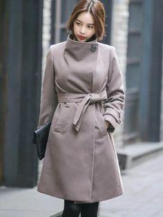 Stylish Belt Stand Collar Overcoat