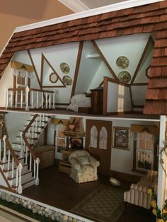 """Gardener's Cottage – Mamie's Minis So here is the dollhouse my mother tackled. She went with a Greenleaf Orchid kit. I believe it will be her first and last dollhouse…I believe her exact words were """"Never aga…"""