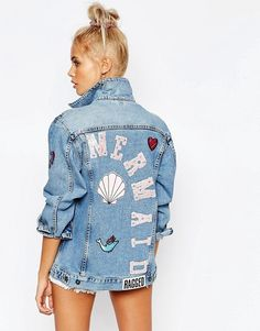The Raggest Priest | Oversized Denim Jacket with Mermaid Patches