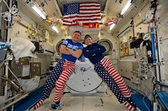 "Happy Fourth of July From the Space Station NASA astronauts Jack Fischer and Peggy Whitson celebrated the Fourth of July from over 250 miles above Earth on the International Space Station. Fischer shared this photo on social media and said ""We sometimes have issues standing up straight but we have no problems at all showing our American pride-Happy 4th!"""