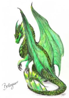 beautiful green dragon - dragons Photo