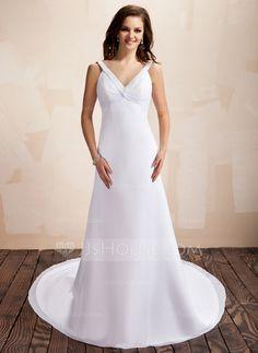 Wedding Dresses - $128.99 - A-Line/Princess V-neck Chapel Train Chiffon Wedding Dress With Ruffle Beadwork (002011620) http://jjshouse.com/A-Line-Princess-V-Neck-Chapel-Train-Chiffon-Wedding-Dress-With-Ruffle-Beadwork-002011620-g11620