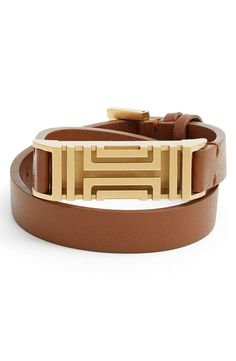 This Tory Burch leather wrap bracelet is the perfect way to dress up any ordinary Fitbit! / @nordstrom #nordstrom