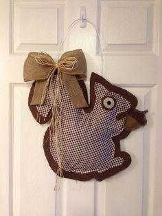 Squirrel Burlap Door Hanger  by SavvySweetBoutique on Etsy,