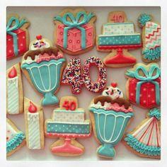 Decorated Ice cream sundae cookies | Party! ice cream sundae birthday cake present ... | Decorated Cookies